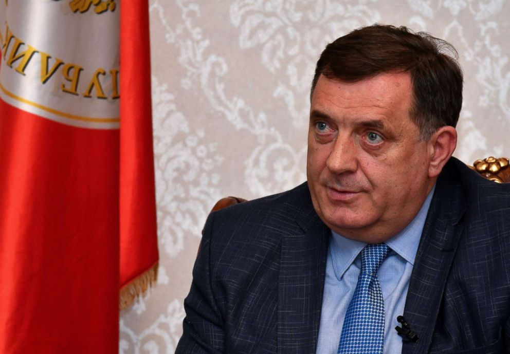 PHOTO: Bosnian Serb leader Milorad Dodik answers questions during an interview in Banja Luka, April 18, 2018.
