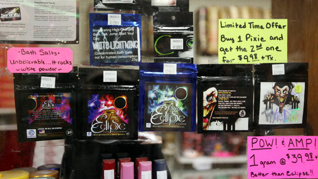 PHOTO: Business was brisk at The Last Place on Earth in Duluth, Minnesota, June 29, 2011, before the ban on synthetic drugs went into effect at midnight. These are some of the Bath Salts that are included in the ban.