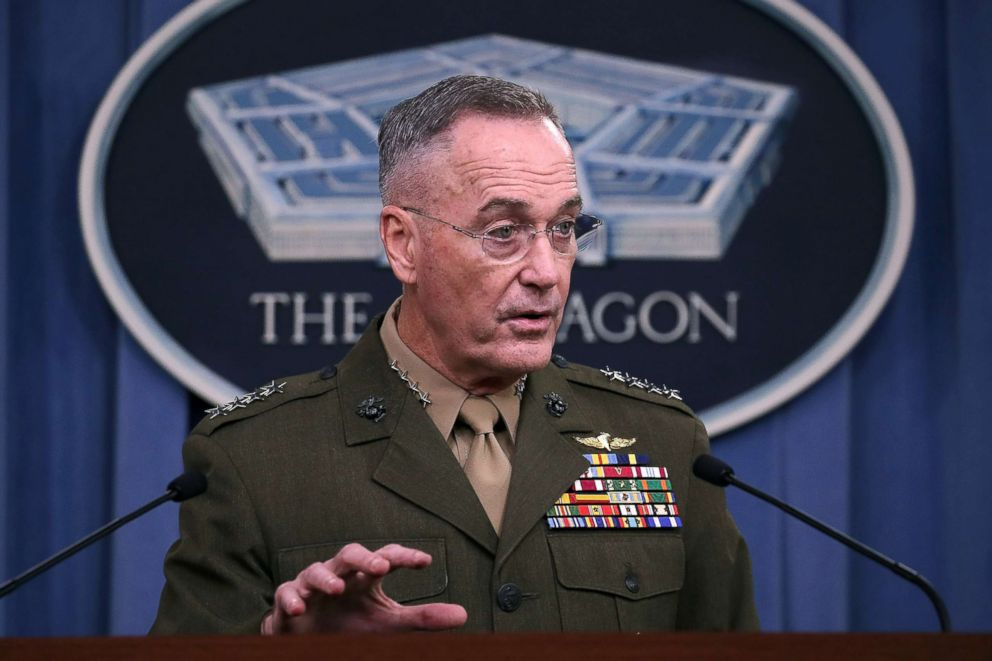 PHOTO: Gen. Joseph Dunford Jr. Chairman of the Joint Chiefs of Staff, briefs the media on the recent military operations in Niger, at the Pentagon on October 23, 2017. Four U.S. Army Special Forces members were killed on Oct. 4 in Niger by militants.