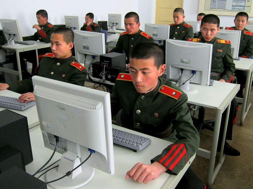 PHOTO: Students at the Mangyongdae Revolutionary School, in Pyongyang, North Korea work on computers, April 13, 2013.
