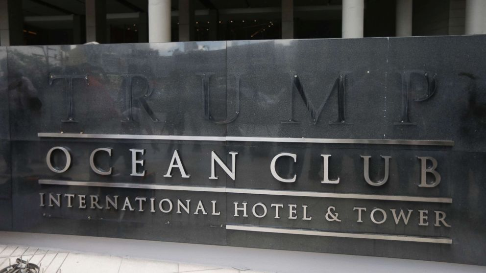 A marquee with the word Trump removed, is seen outside the Trump Ocean Club International Hotel and Tower in Panama City, March 5, 2018.