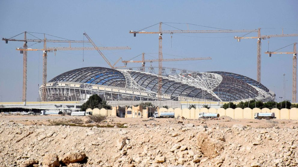 A stadium to be used in the 2022 football World Cup finals is under construction in Doha, Qatar on May 28, 2018.