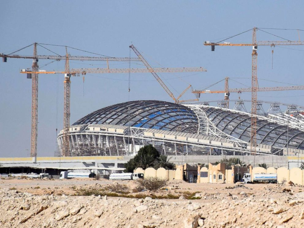 PHOTO: A stadium to be used in the 2022 football World Cup finals is under construction in Doha, Qatar on May 28, 2018.