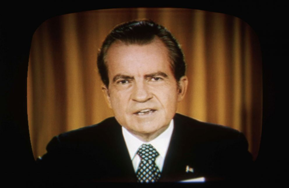 PHOTO: President Richard Nixon addresses the nation on television about the Watergate investigations, April 30, 1973.