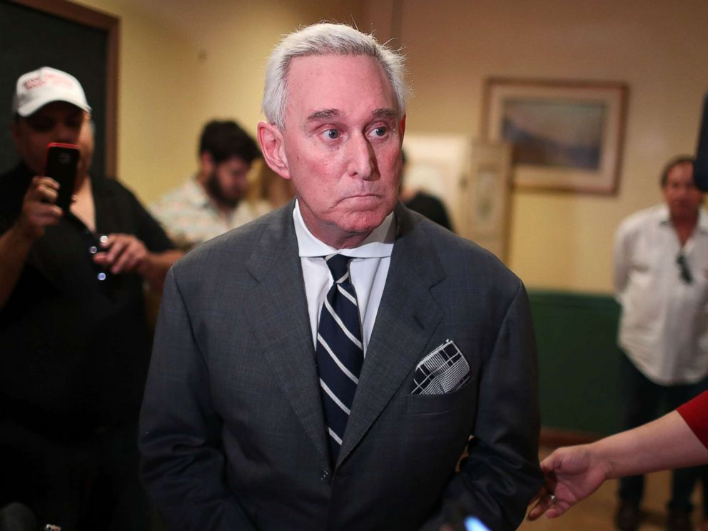 PHOTO: Roger Stone, a longtime political adviser and friend to President Donald Trump, speaks at the John Martins Irish Pub and Restaurant on May 22, 2017 in Coral Gables, Fla.