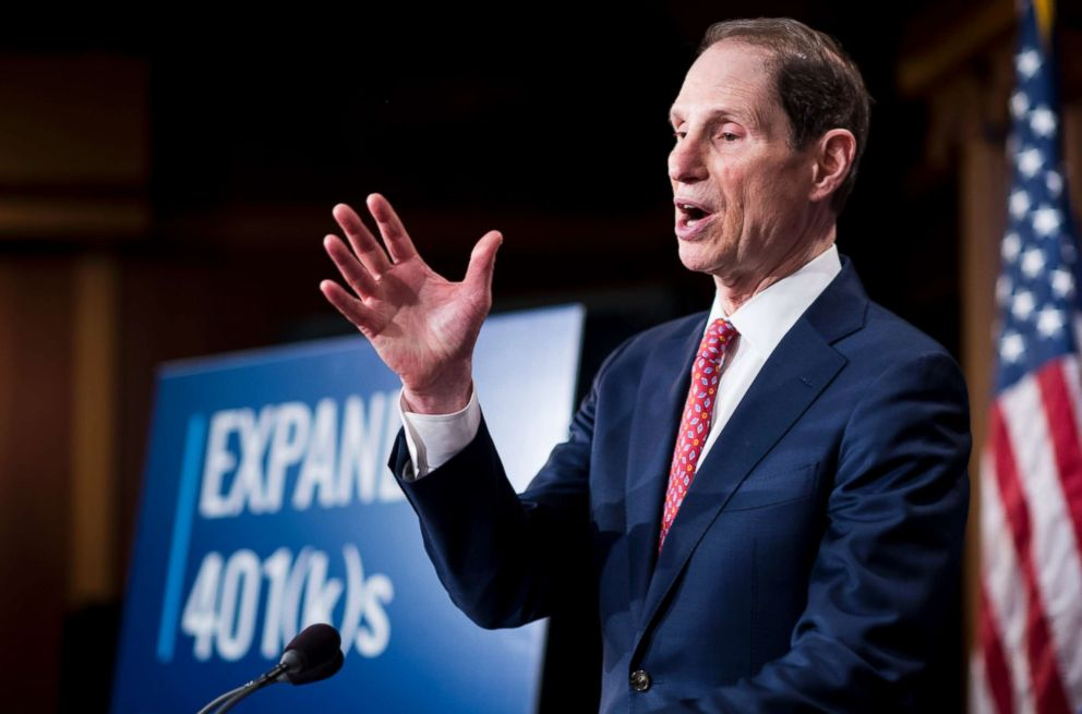 Sen. Ron Wyden, participates in the Senate Democrats' news conference to unveil a plan to protect and expand retirement savings on Tuesday, Oct. 31, 2017. (Photo By Bill Clark/CQ Roll Call)