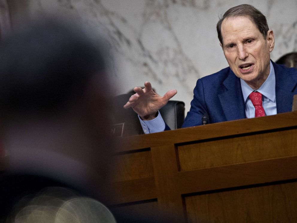 PHOTO: Sen. Ron Wyden, a Democrat from Oregon, questions witnesses during a Senate Intelligence Committee hearing on election security in Washington, D.C., March 21, 2018.