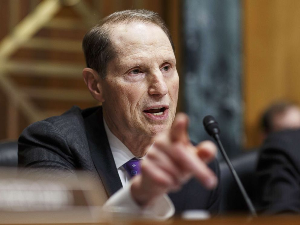 PHOTO: Senator Ron Wyden asks a question during a Senate Finance Committee hearing on Capitol Hill in Washington, March 22, 2018.