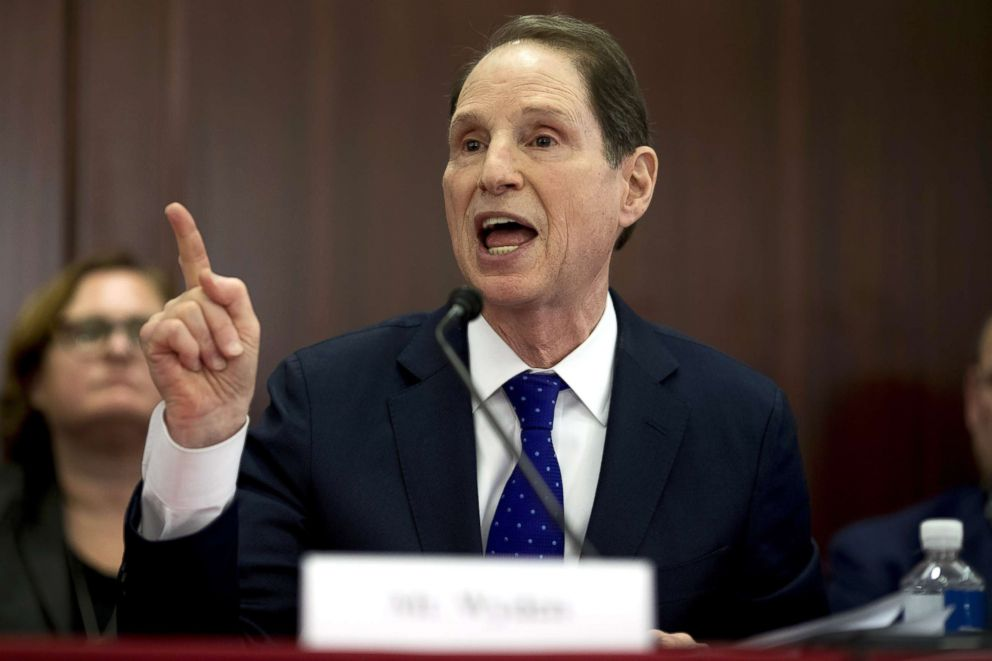PHOTO: Senator Ron Wyden, a Democrat from Oregon and ranking member of the Senate Finance Committee, speaks during a House-Senate conference meeting on the Republican led tax reform bill at the U.S. Capitol in Washington, D.C. Dec. 13, 2017.