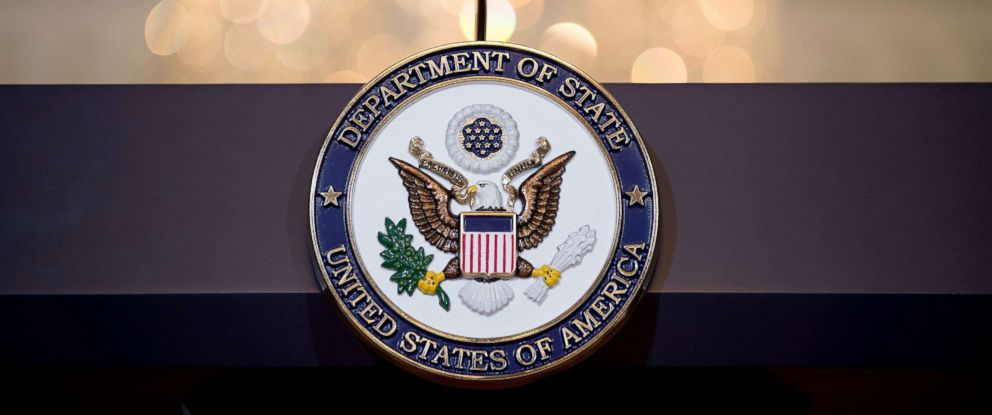 PHOTO: A view of the State Department seal on the podium June 9, 2017 in Washington, DC.