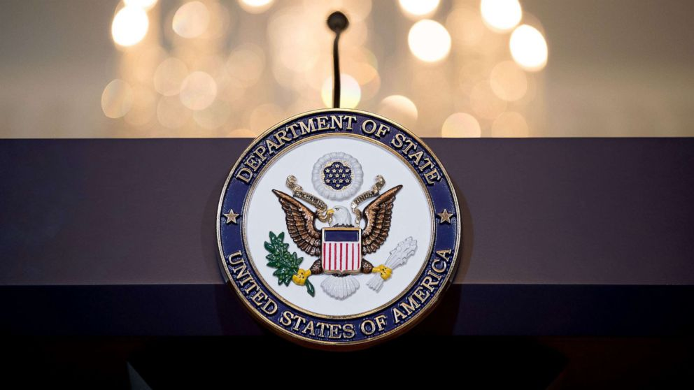 A view of the State Department seal on the podium June 9, 2017 in Washington, DC.