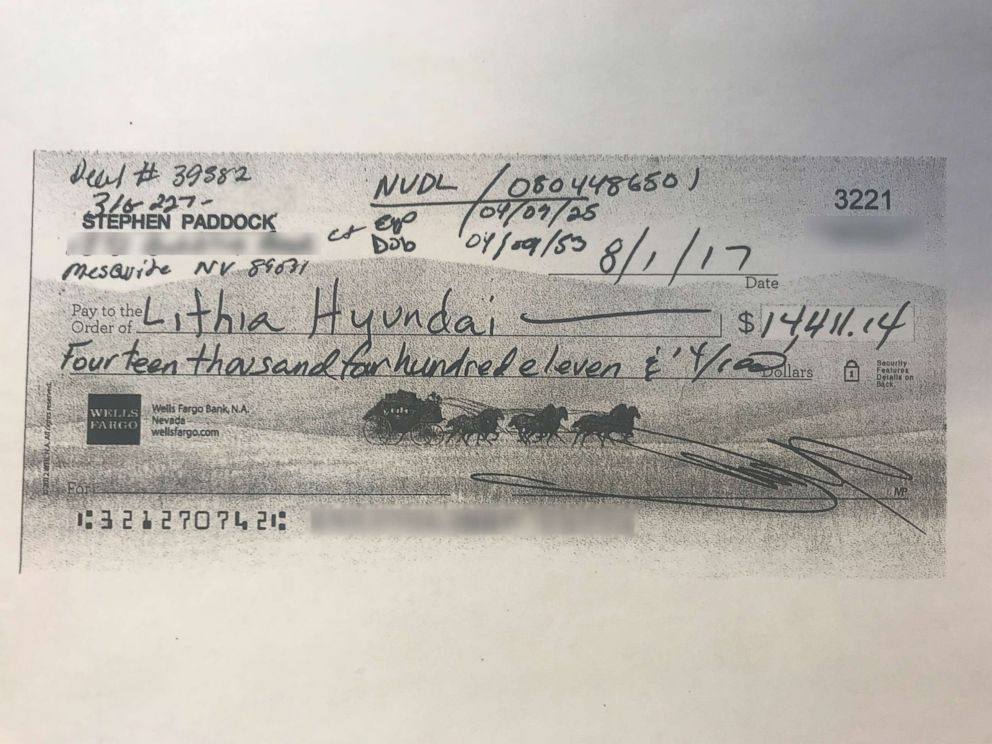 PHOTO: In August, Stephen Paddock paid for a car with this check for $14,411.