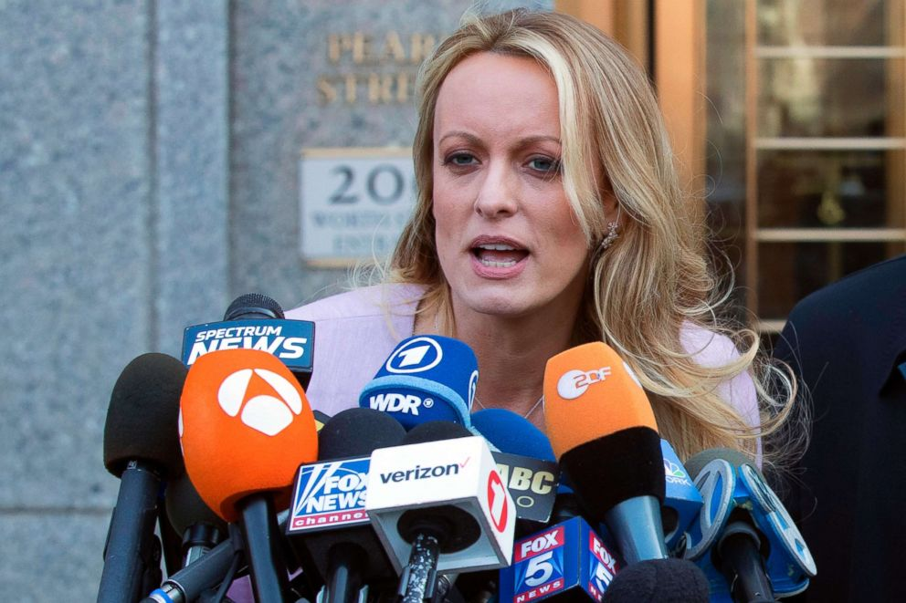 PHOTO: Stormy Daniels speaks outside federal court in New York, April 16, 2018.