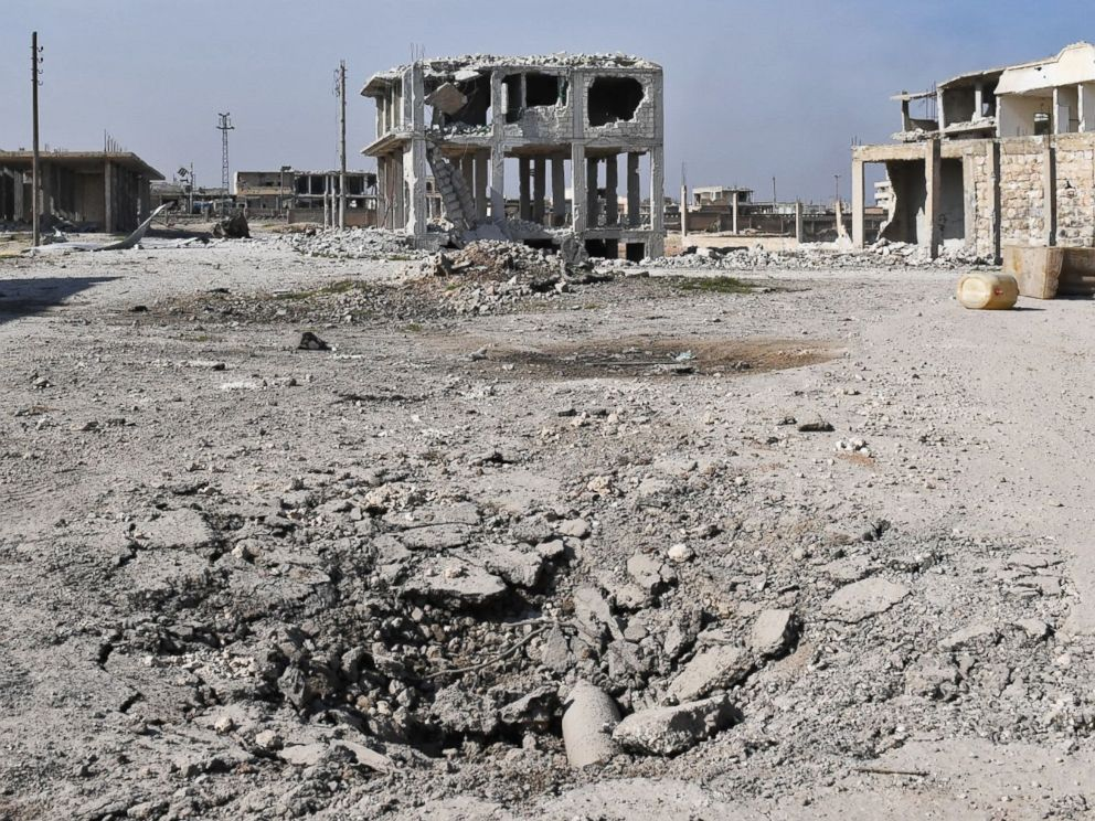 PHOTO: A general view shows destruction in the village of Abu al-Duhur on the eastern outskirts of Idlib, after Syrian pro-government forces took control of the village as they continue to battle opposition forces, Feb. 3, 2018.
