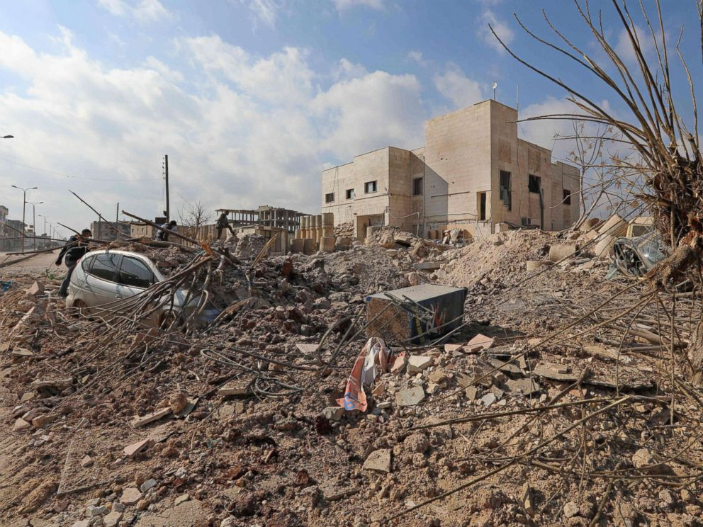 PHOTO: A picture taken on Jan. 29, 2018, shows destruction around the Udai hospital following airstrikes by government forces on the town of Saraqeb in Syrias northwestern province of Idlib.
