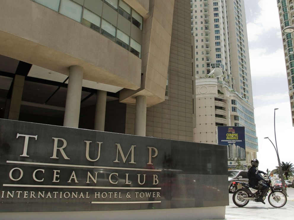 PHOTO: A police officer on a motorcycle leaves the Trump Ocean Club International Hotel and Tower in Panama City, Feb. 27, 2018.