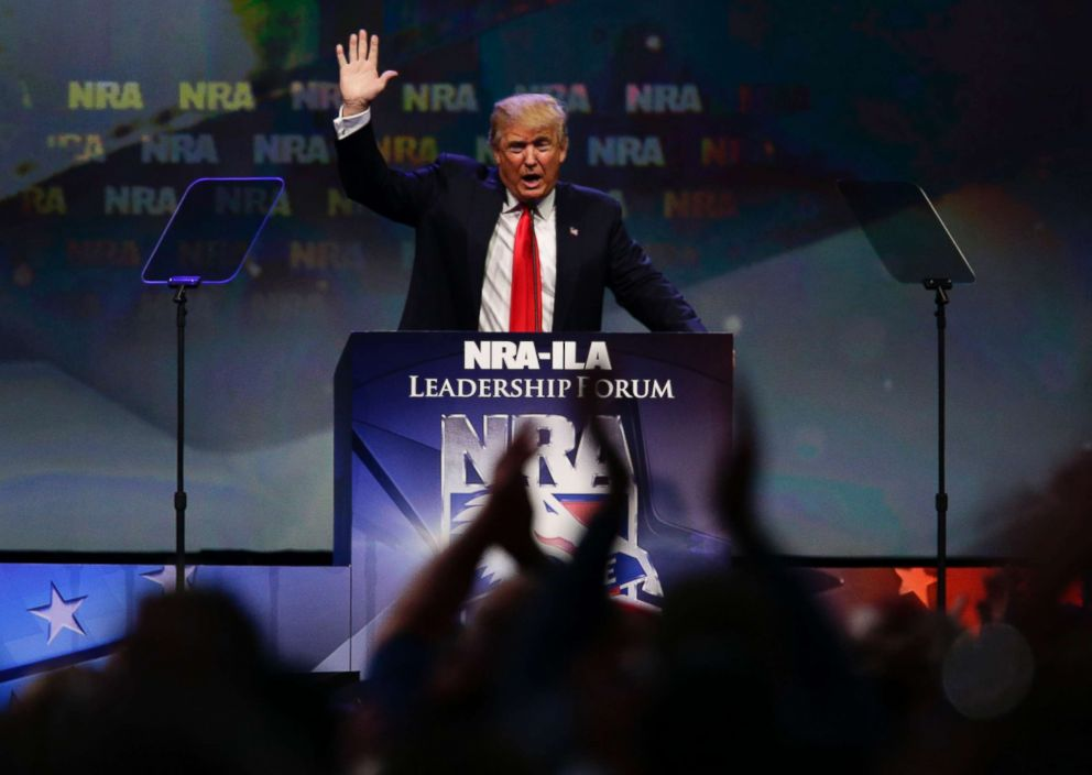 PHOTO: Republican presidential candidate Donald Trump speaks at the NRA Leadership Forum, May 20, 2016, in Louisville, Ky.