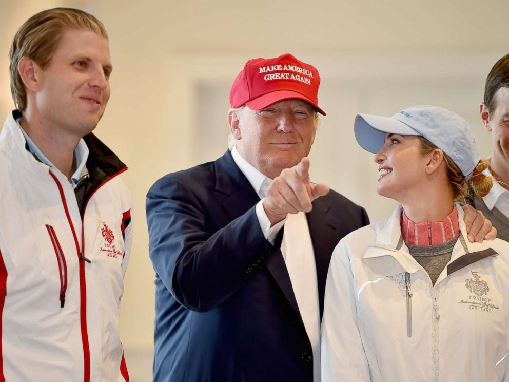 PHOTO: Donald Trump visits his Scottish golf course Turnberry with his children Ivanka Trump and Eric Trump on July 30, 2015 in Ayr, Scotland.
