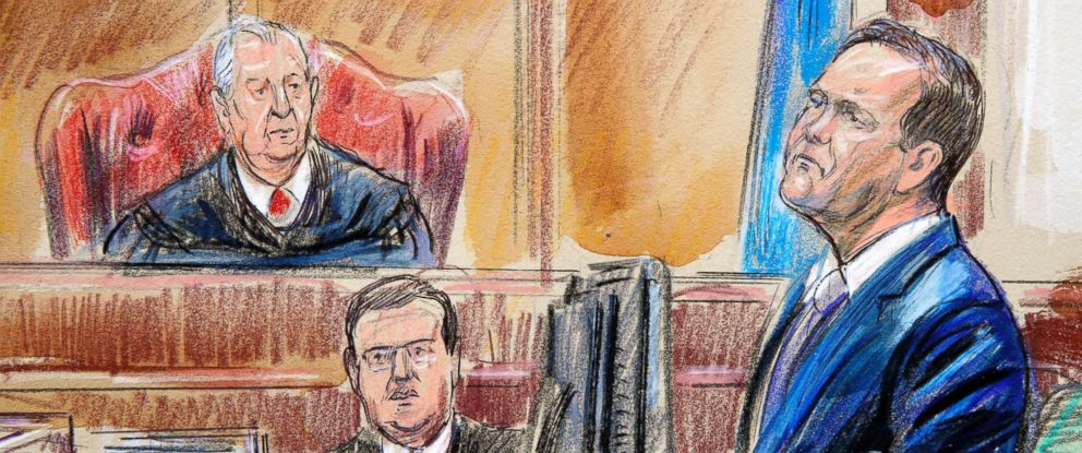 PHOTO: This courtroom sketch depicts Rick Gates on the witness stand as he is cross examined by defense lawyer Kevin Downing during the trial of Paul Manafort in Alexandria, Va., Aug. 7, 2018. U.S. District court Judge T.S. Ellis III presides.
