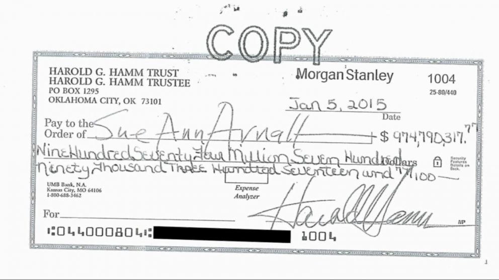Image result for picture of harold hamm's divorce check