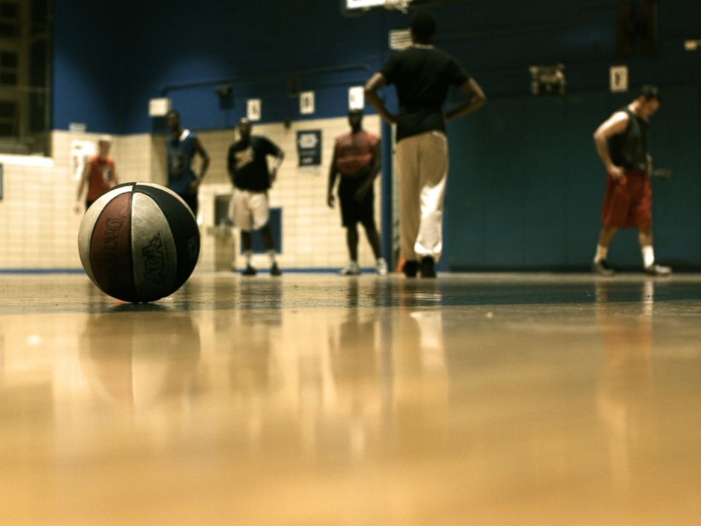 PHOTO:The familiar red, white and blue colored ball of the ABA is seen on the court in Brooklyn, New York.