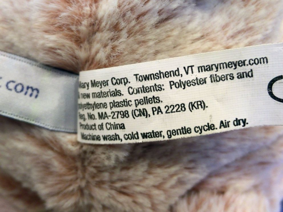 PHOTO: A tag for a bear sold with the Trump name indicates that its a product of China.