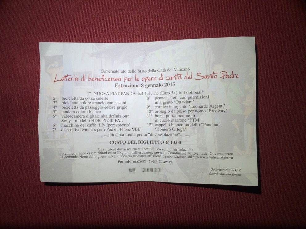 PHOTO: A ticket for the raffle of Pope Francis gifts, the winners of which will be announced Jan. 8, 2015.