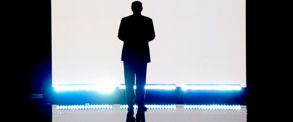 PHOTO:Donald Trump, presumptive Republican presidential nominee, makes an entrance at the 2016 Republican National Convention from the Quicken Loans Convention Center in Cleveland, July 18, 2016.