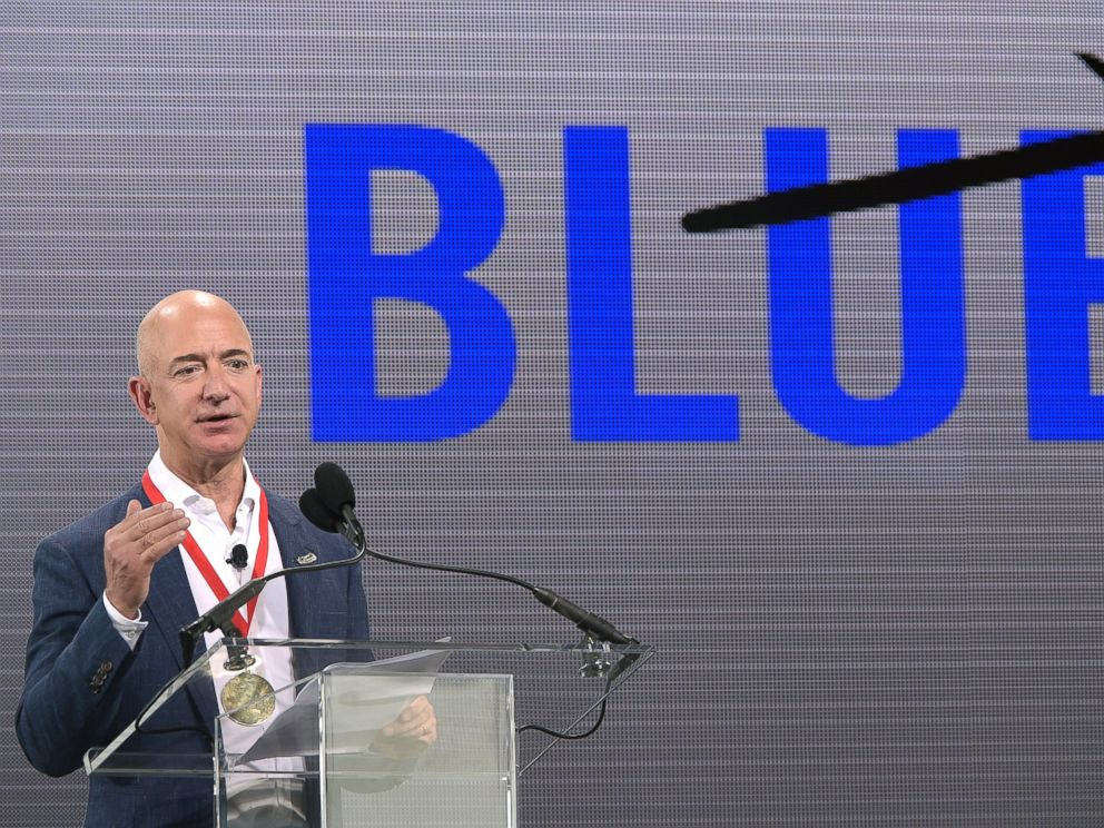 PHOTO: Amazon CEO Jeff Bezos addresses reporters and guests during a news conference unveiling the new Blue Origin rocket at the Cape Canaveral Air Force Station in Cape Canaveral, Fla., Sept. 15, 2015.
