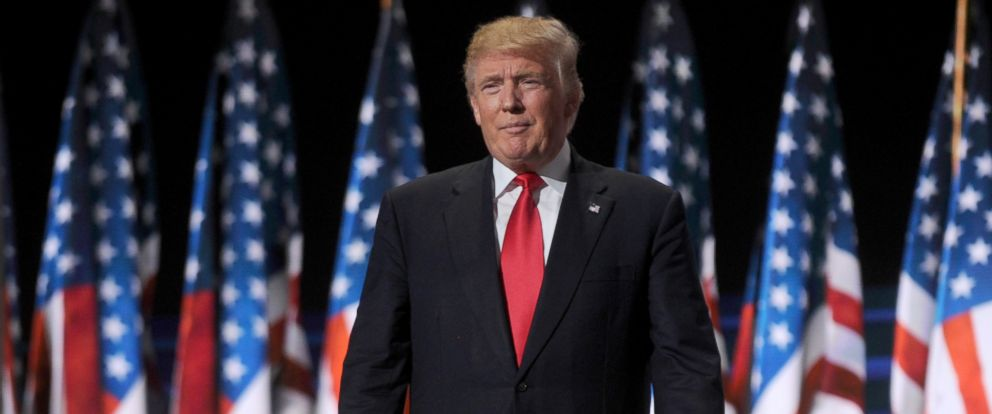 PHOTO: Republican nominee Donald Trump at the Republican National Convention in Cleveland, Ohio on July 21, 2016.
