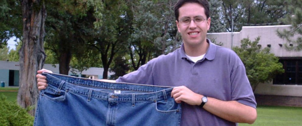 PHOTO:Jared Fogle, the unofficial mascot for dieters, seen in this file photo, Aug. 7, 2001, in Albuquerque, N.M., holds up a pair of jeans he used to wear.