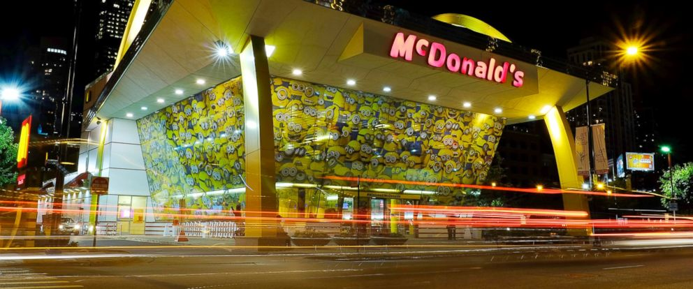 PHOTO: Images of Minions adorn a McDonalds restaurant in Chicago, July 7, 2015.