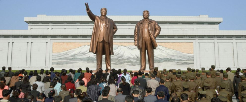 PHOTO: North Koreans visit Mansudae hill, where bronze statues of former leaders Kim Il Sung and Kim Jong Il stand, in Pyongyang, April 15, 2016, to mark the birthday of the countrys late founder Kim Il Sung.