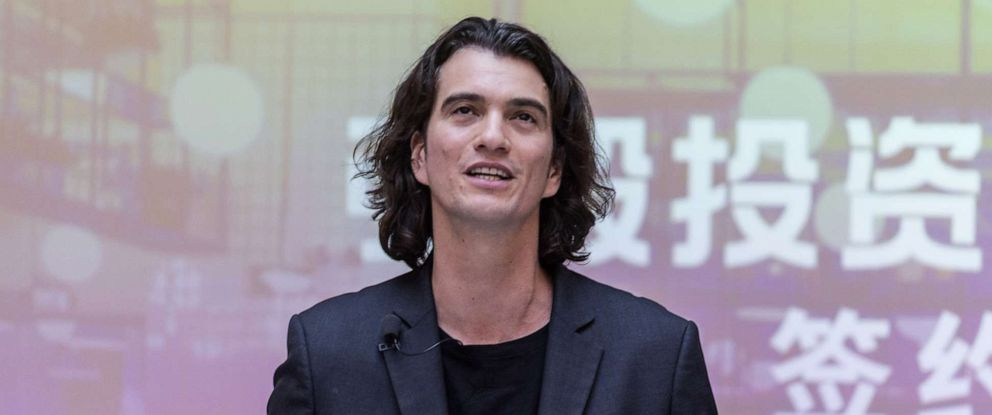 PHOTO: Adam Neumann, co-founder and chief executive officer of WeWork, speaks at WeWork Weihai Road flagship on April 12, 2018 in Shanghai, China.