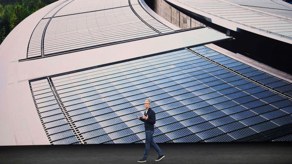 Apple CEO Tim Cook speaks about renewable energy during a media event at Apple's new headquarters where Apple is expected to announce a new iPhone and other products in Cupertino, Calif., on Sept. 12, 2017.