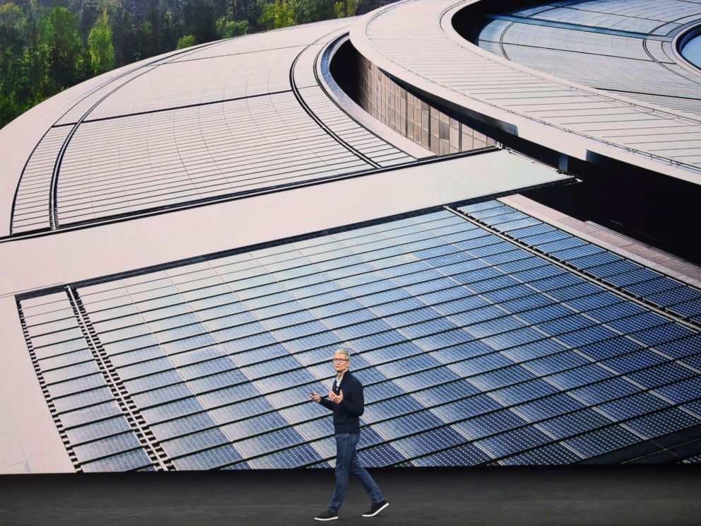 PHOTO: Apple CEO Tim Cook speaks about renewable energy during a media event at Apples new headquarters where Apple is expected to announce a new iPhone and other products in Cupertino, Calif., on Sept. 12, 2017.