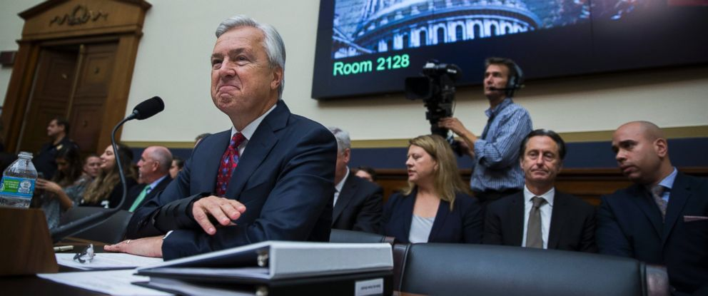 PHOTO: Chairman and CEO of Wells Fargo, John Stumpf, testifies before the House Financial Services Committee hearing on Capitol Hill in Washington, Sept. 29, 2016.