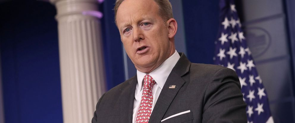 PHOTO: White House Press Secretary Sean Spicer answers reporters questions during the daily press briefing at the White House, April 17, 2017, in Washington.