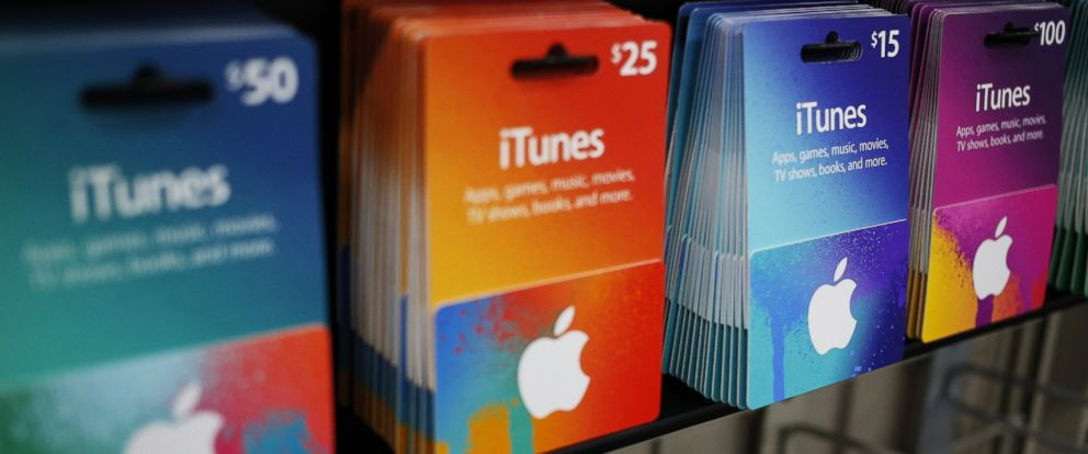 PHOTO: iTunes gift cards are displayed for sale in a Best Buy Co. store in Chesapeake, Virginia in this Nov. 26, 2015 file photo.