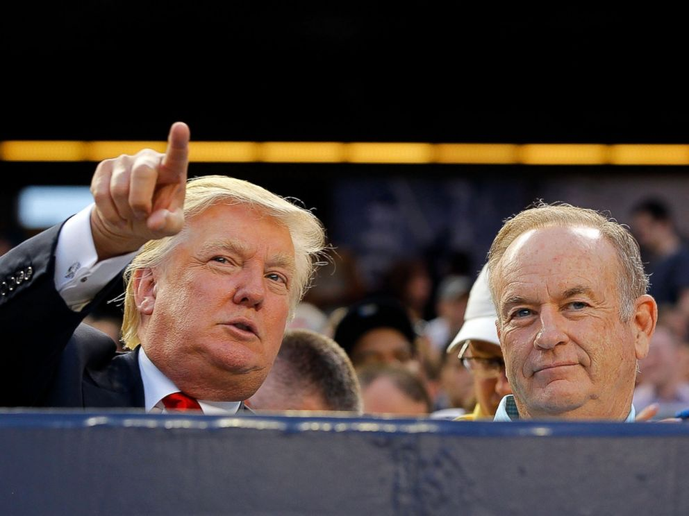 PHOTO: Donald Trump and Bill OReilly attend a game between the New York Yankees and the Baltimore Orioles at Yankee Stadium, July 30, 2012, in New York City.