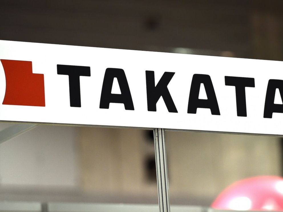 PHOTO: This picture taken on Nov. 23, 2014 shows the logo of Japanese auto parts maker Takata