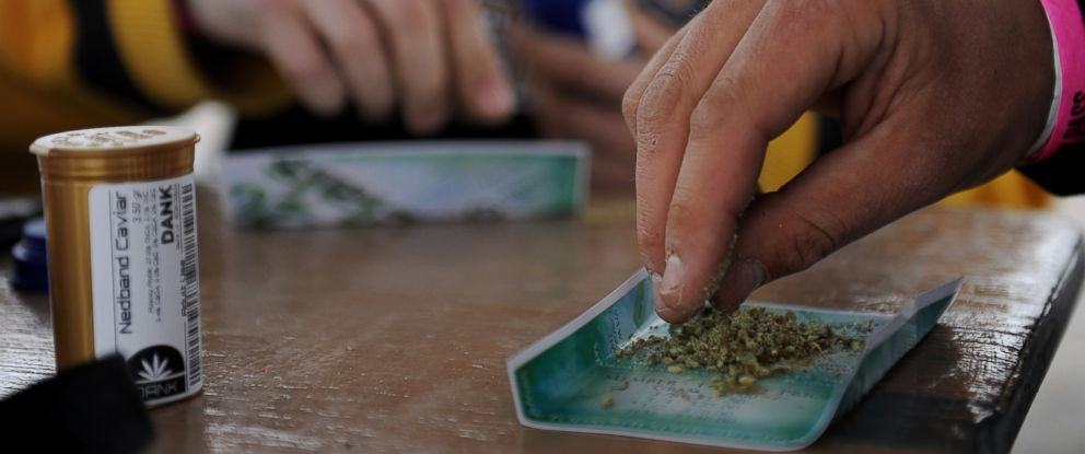 PHOTO: A man handles marijuana while rolling a joint during the High Times Cannabis Cup