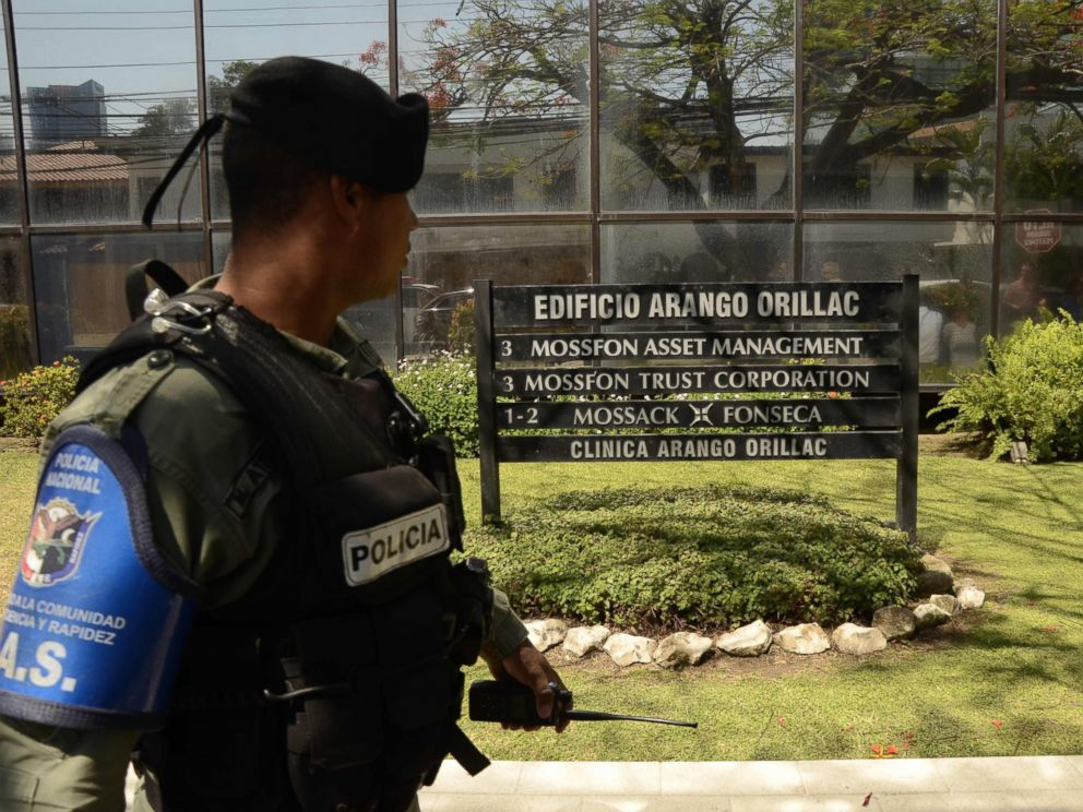 PHOTO:A policeman stands guard outside Mossack Fonseca headquarters in Panama City on April 13, 2016. Police raided the headquarters of the law firm whose leaked Panama Papers revealed how the worlds wealthy used offshore companies to stash assets.