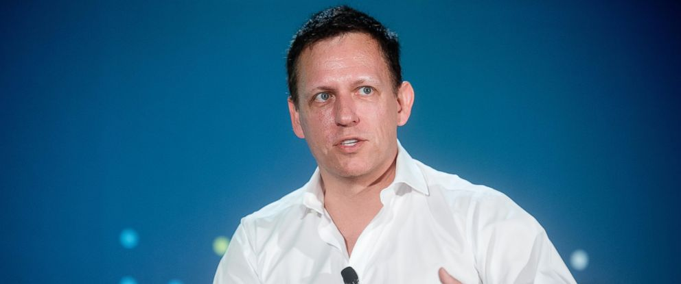 PHOTO: Peter Thiel, head of Clarium Capital Management LLC and founding investor in PayPal Inc. and Facebook Inc., speaks during the LendIt USA 2016 conference in San Francisco, April 12, 2016.