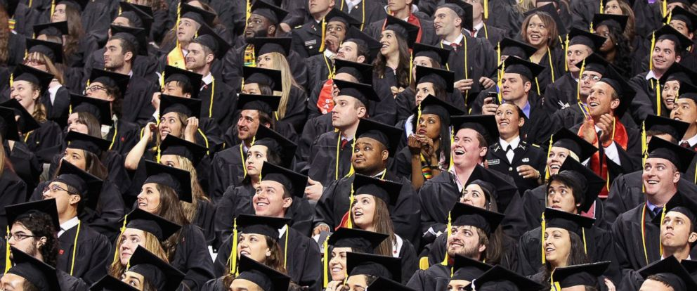 PHOTO: Graduates from the College of Social Sciences and Humanities during Northeastern Universitys commencement exercises in Boston, May 2, 2014.
