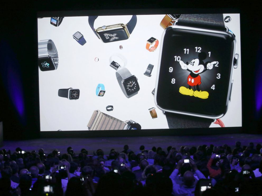 PHOTO: A video about the Apple Watch is shown during an Apple special event at the Flint Center for the Performing Arts, Sept. 9, 2014 in Cupertino, Calif.