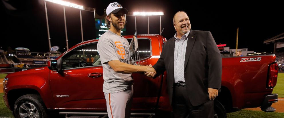PHOTO: Madison Bumgarner holds the MVP trophy following a 3-2 victory over the Kansas City Royals in Game Seven of the 2014 World Series at Kauffman Stadium, Oct. 29, 2014 in Kansas City, Mo.