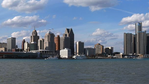 PHOTO: The city skyline in Detroit, Mich., March 31, 2013.
