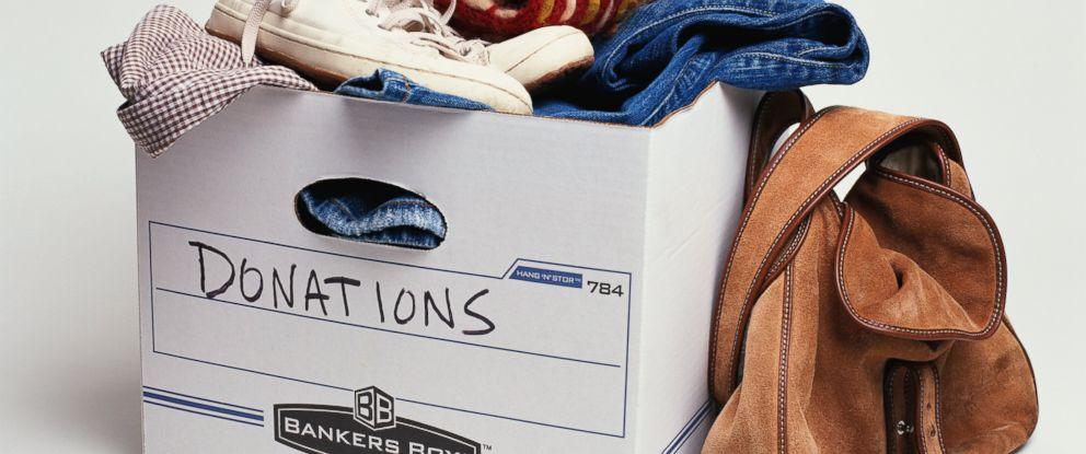 PHOTO: A donations box with clothing is pictured in this stock image.