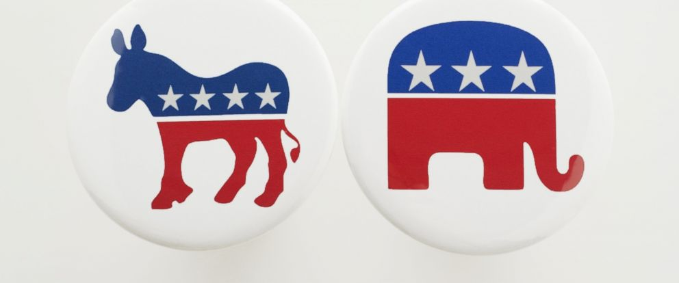 PHOTO: The symbols for the Democratic and Republican parties are pictured.